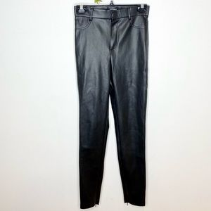 Zara Vegan Leather Leggings with Ankle Zips